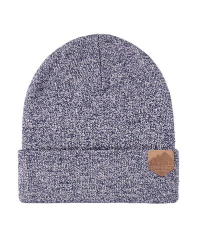 Unisex Knit Beanie with Mountain Patch - Navy Heather
