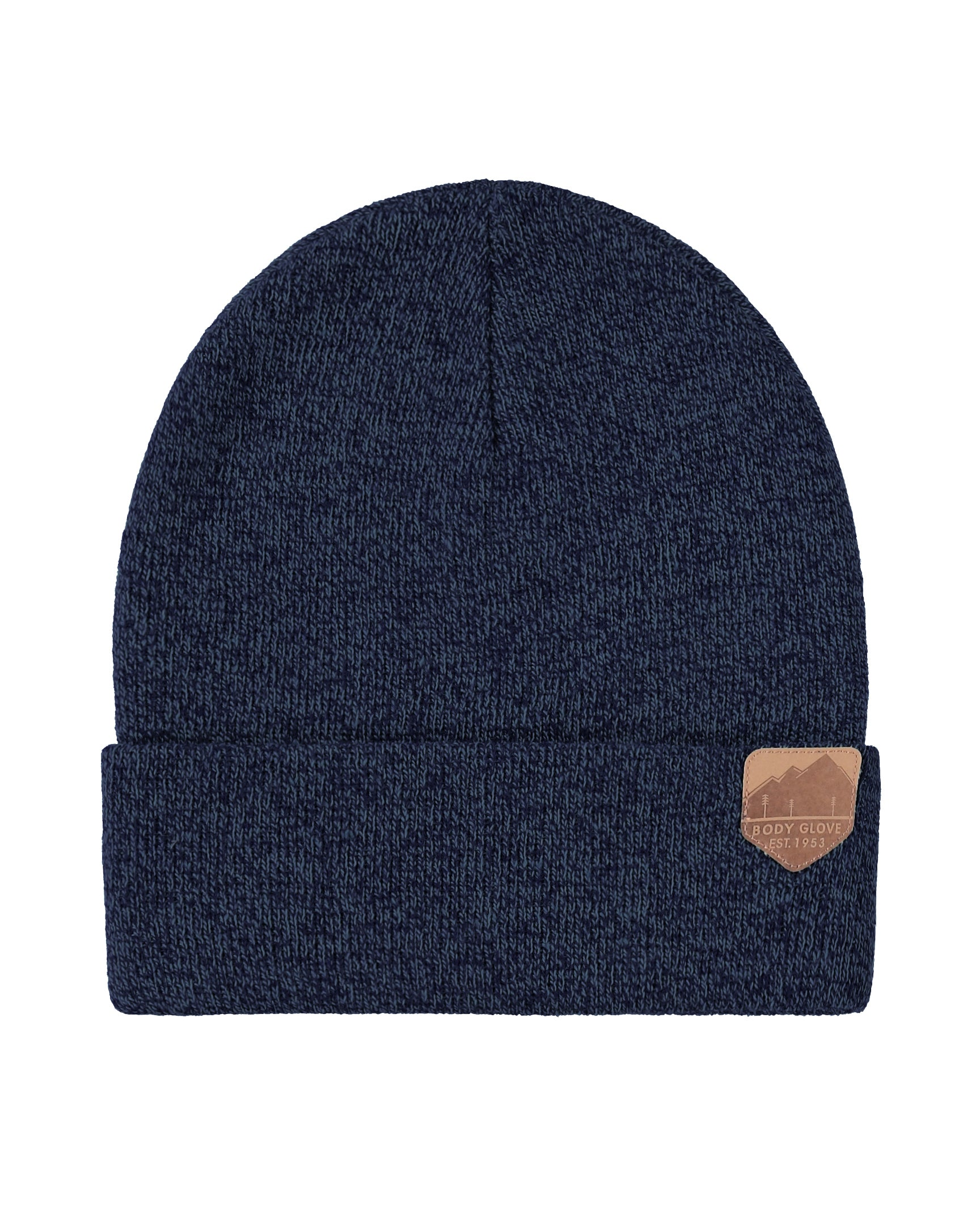 Unisex Knit Beanie with Mountain Patch- Navy