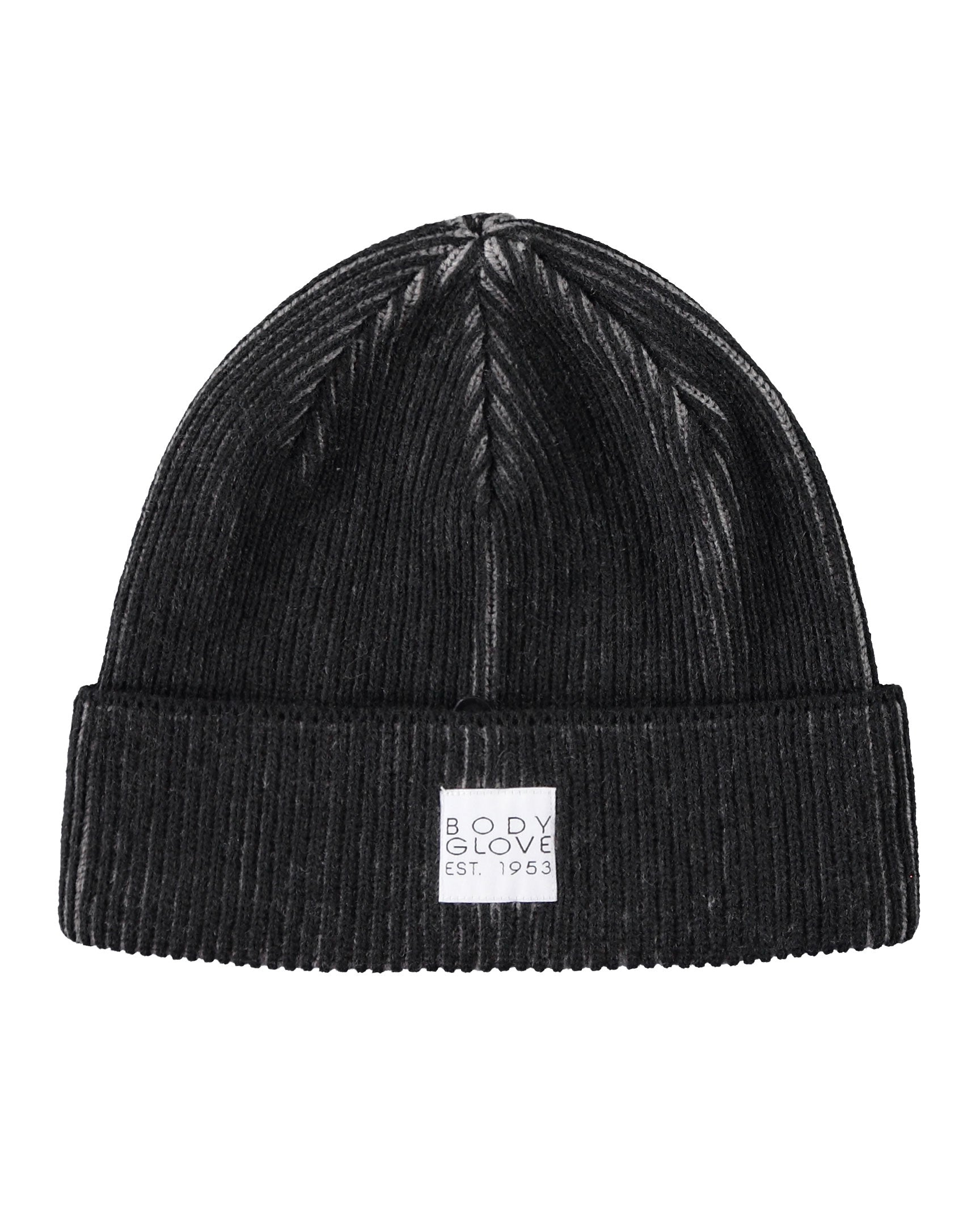 Unisex Two-Tone Ribbed Beanie with Woven Label - Black