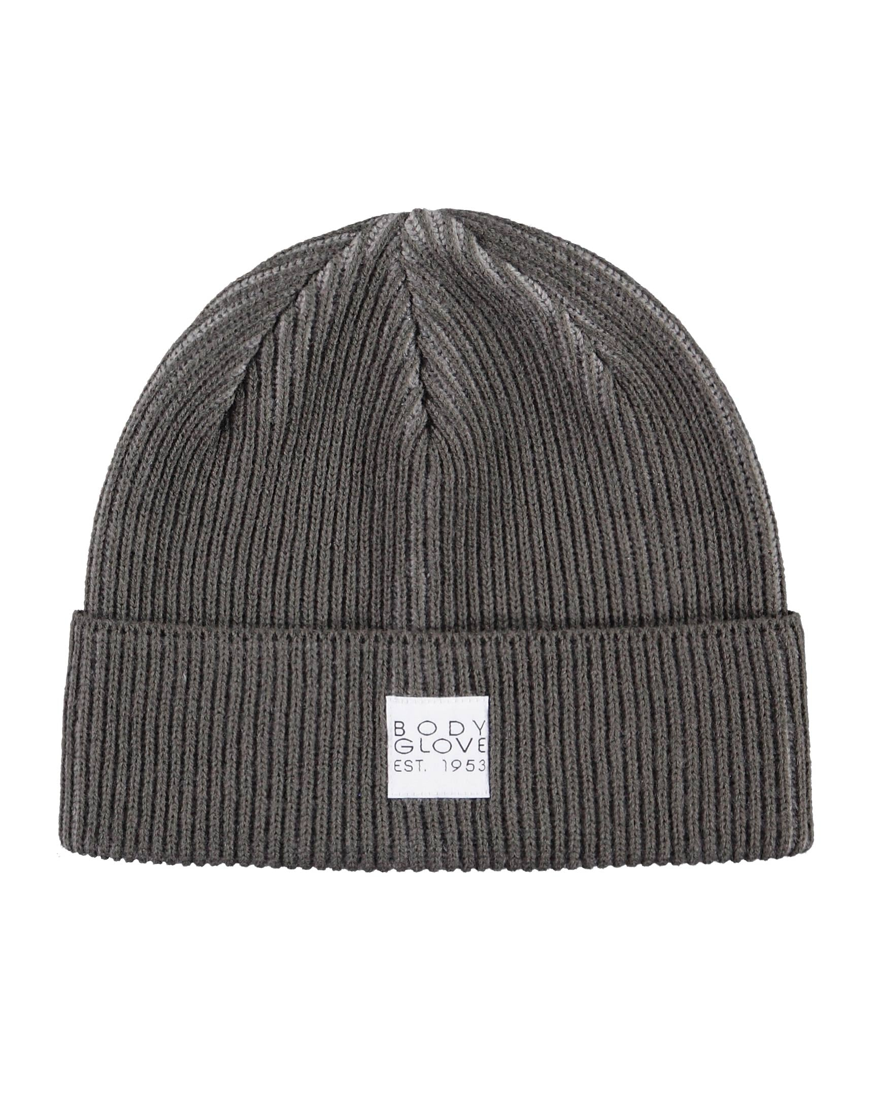 Unisex Two-Tone Ribbed Beanie with Woven Label - Grey