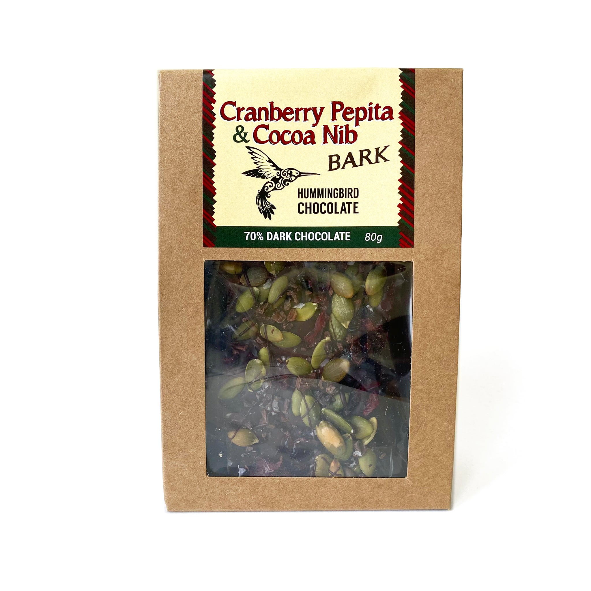 Cranberry Pepita & Cocoa Nib Bark, Hummingbird Chocolate, front of package