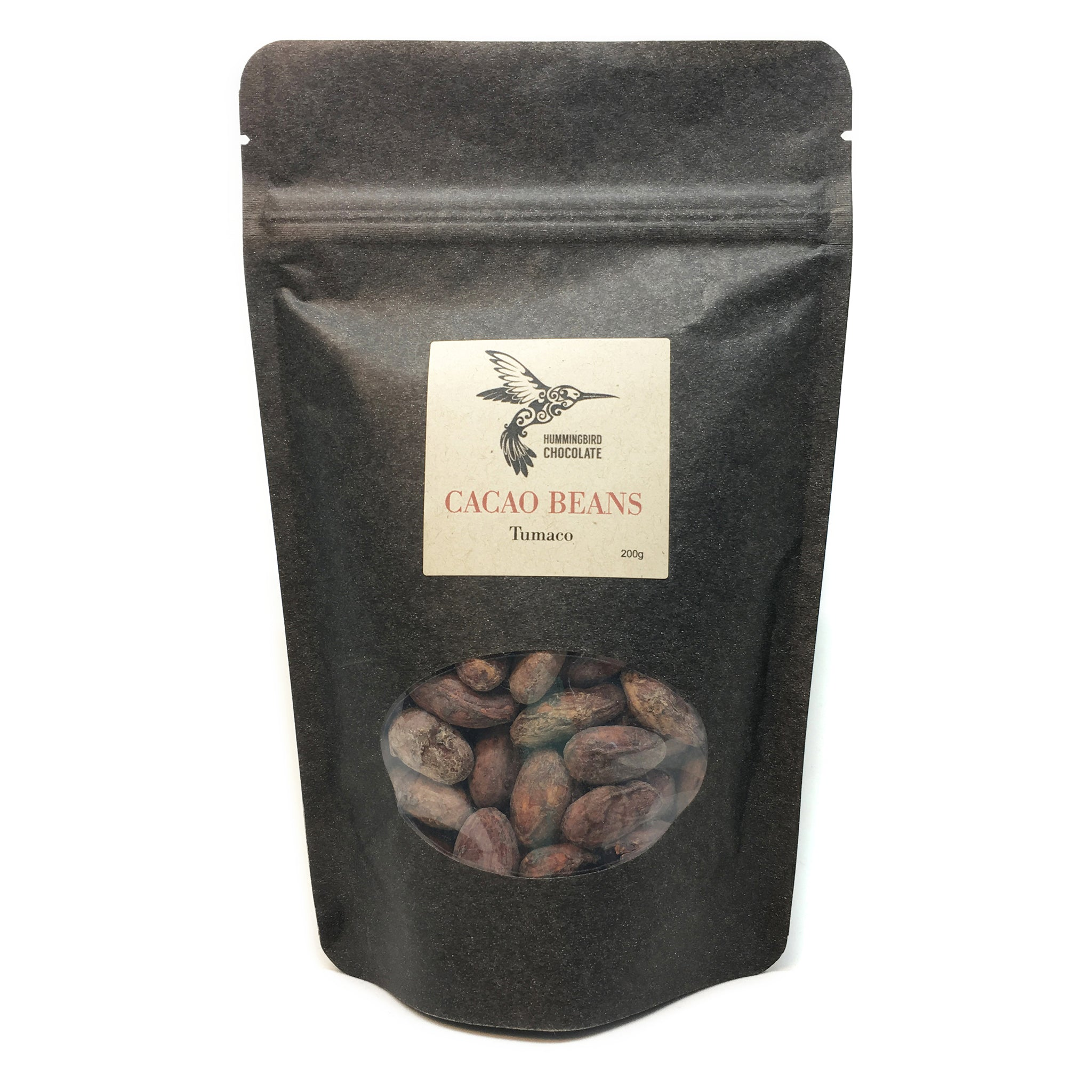 Hummingbird Chocolate Roasted Cacao Beans, 200g bag.