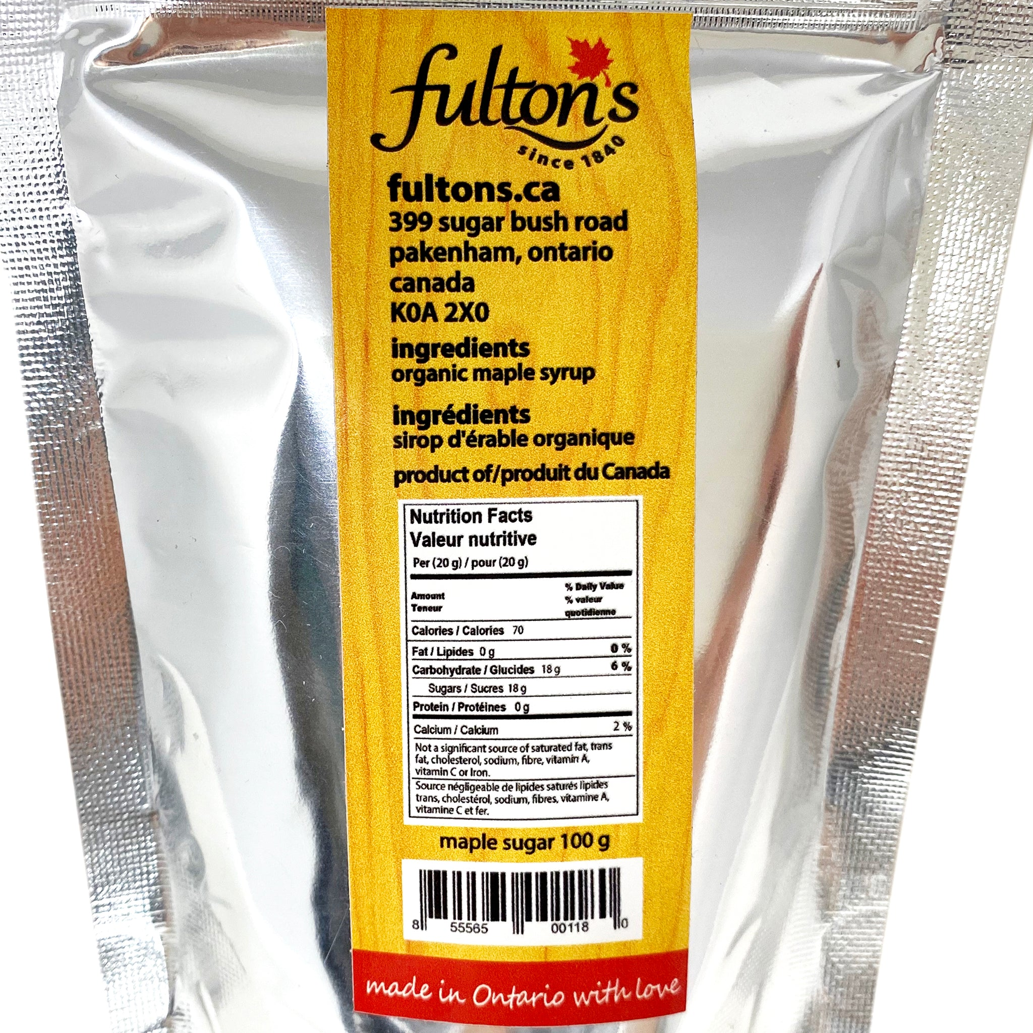 Fulton's Maple Sugar, 100g