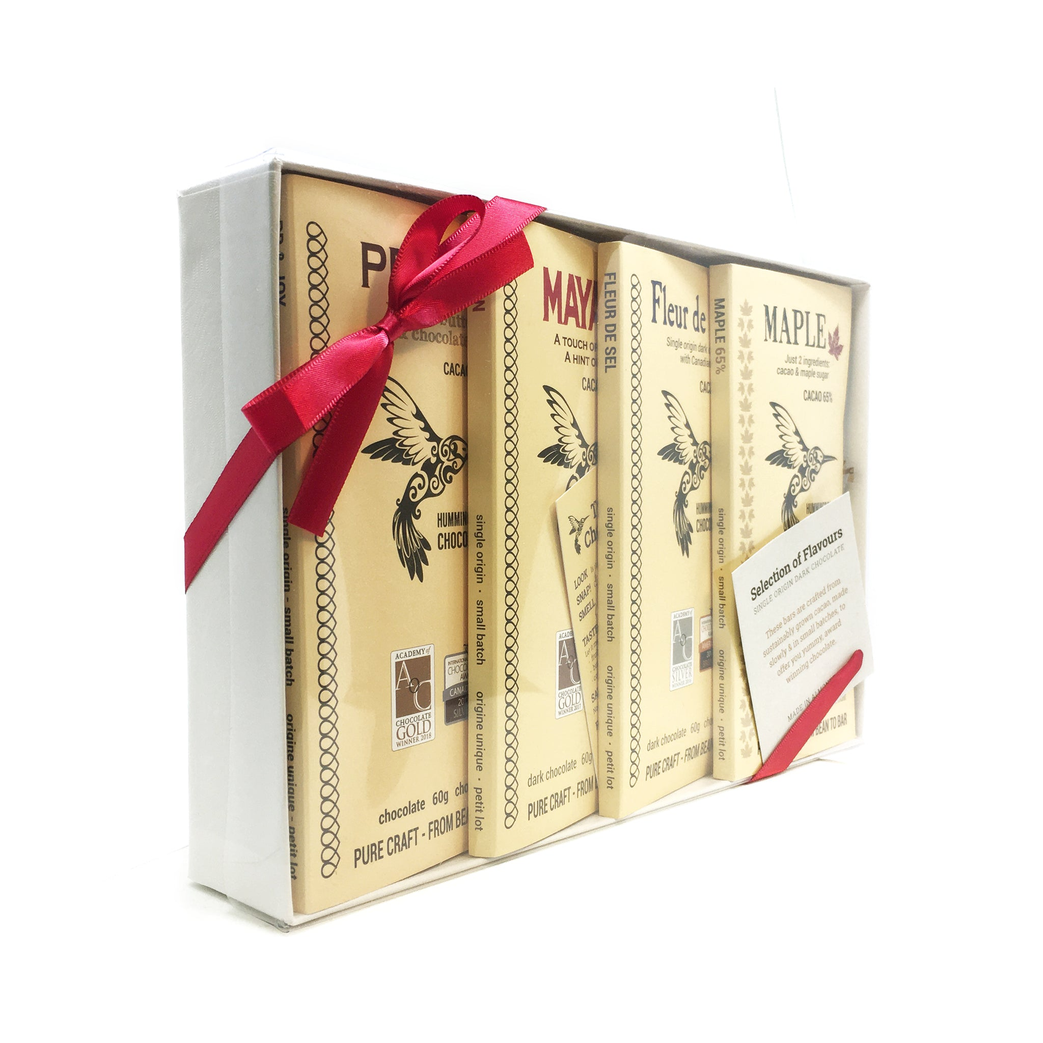 Hummingbird Chocolate, Selection of Flavours Gift Box - angled view.