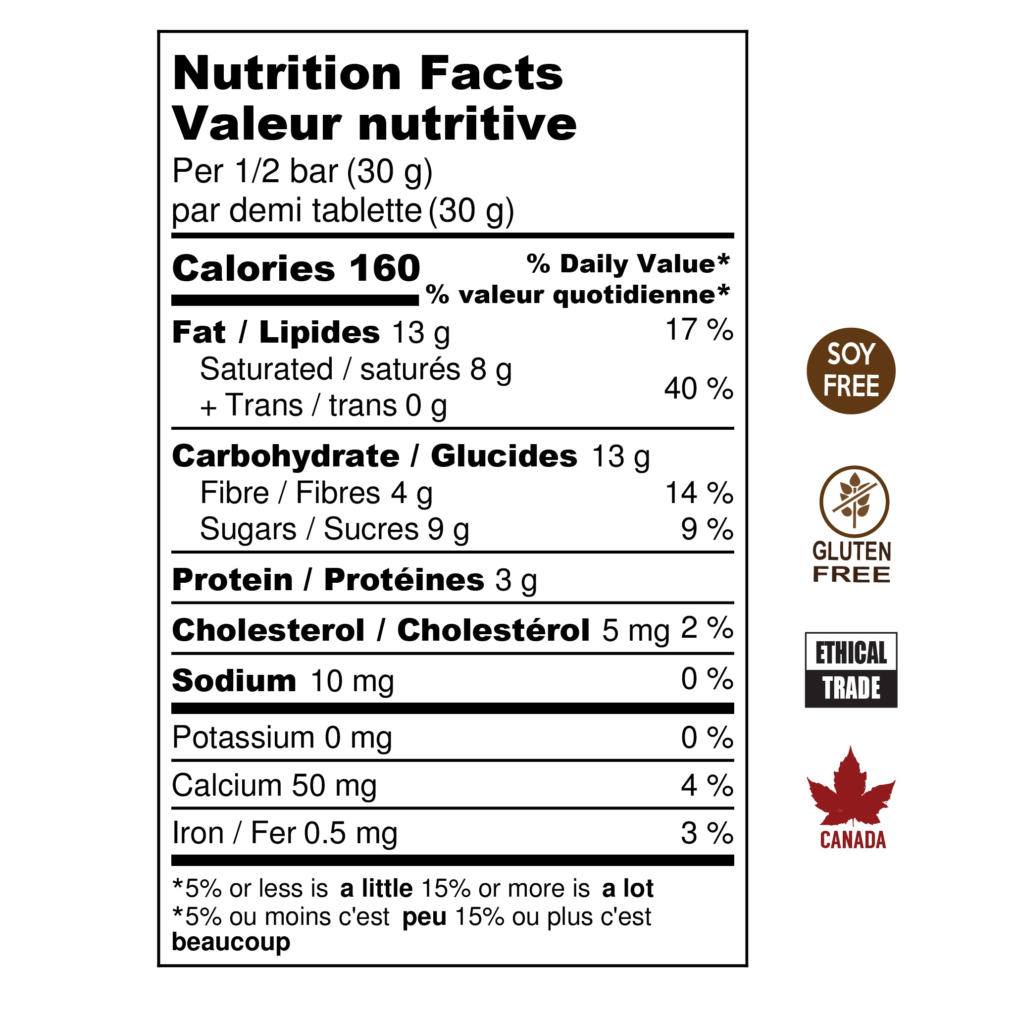 Mocha Milk nutritional information, Soy Free, Gluten Free, Ethical Trade, Made in Canada