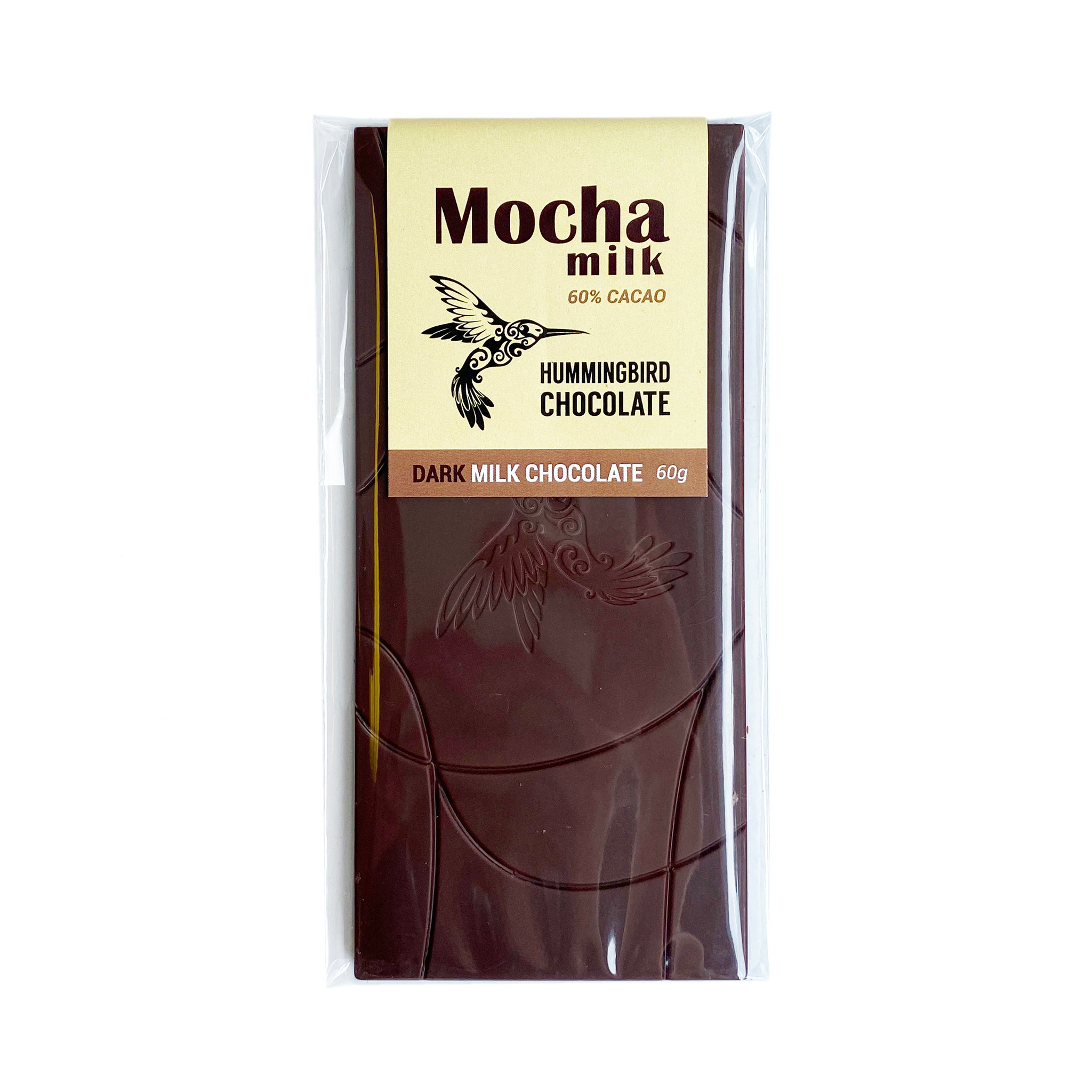 Hummingbird Chocolate Mocha Milk Chocolate Bar, 60% cacao, 60g dark-milk chocolate