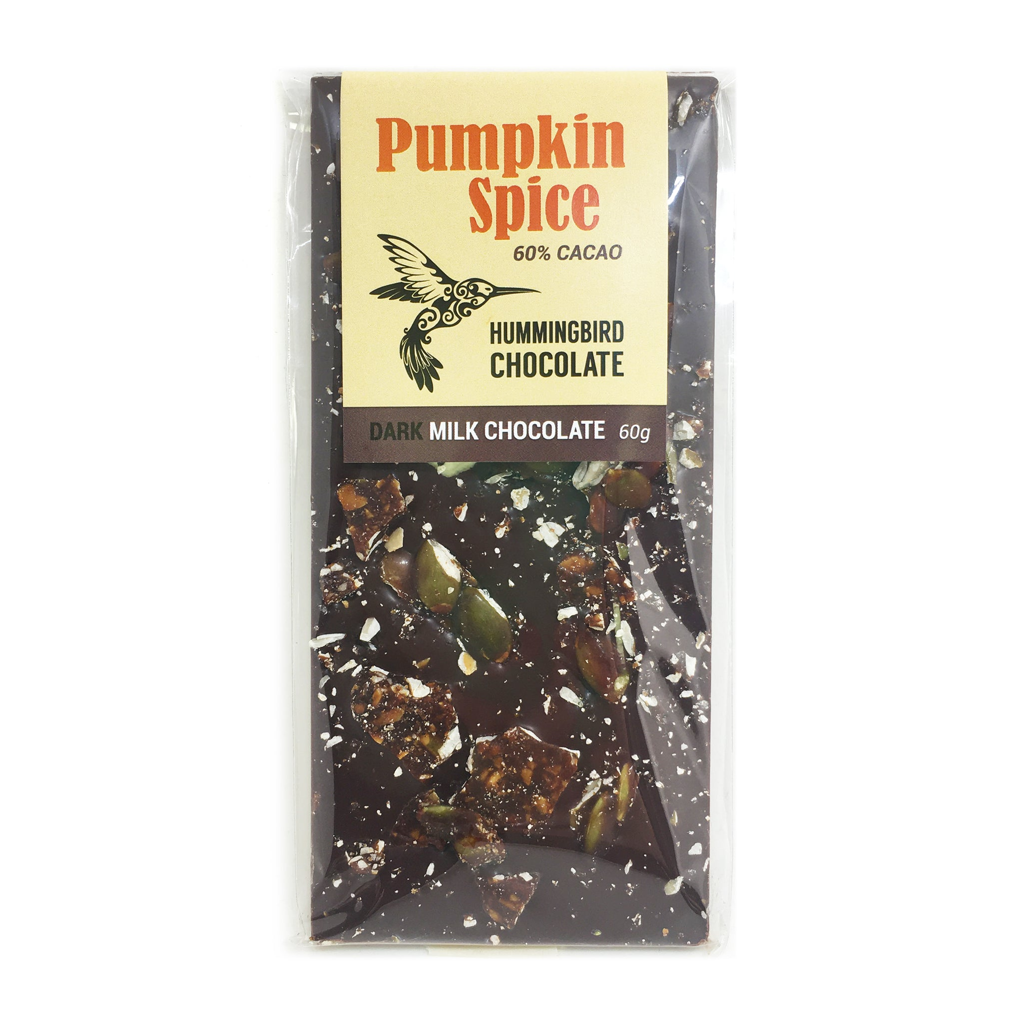 Hummingbird Chocolate Maker, Pumpkin Spice, dark-milk chocolate bar, 60g, 60% cacao