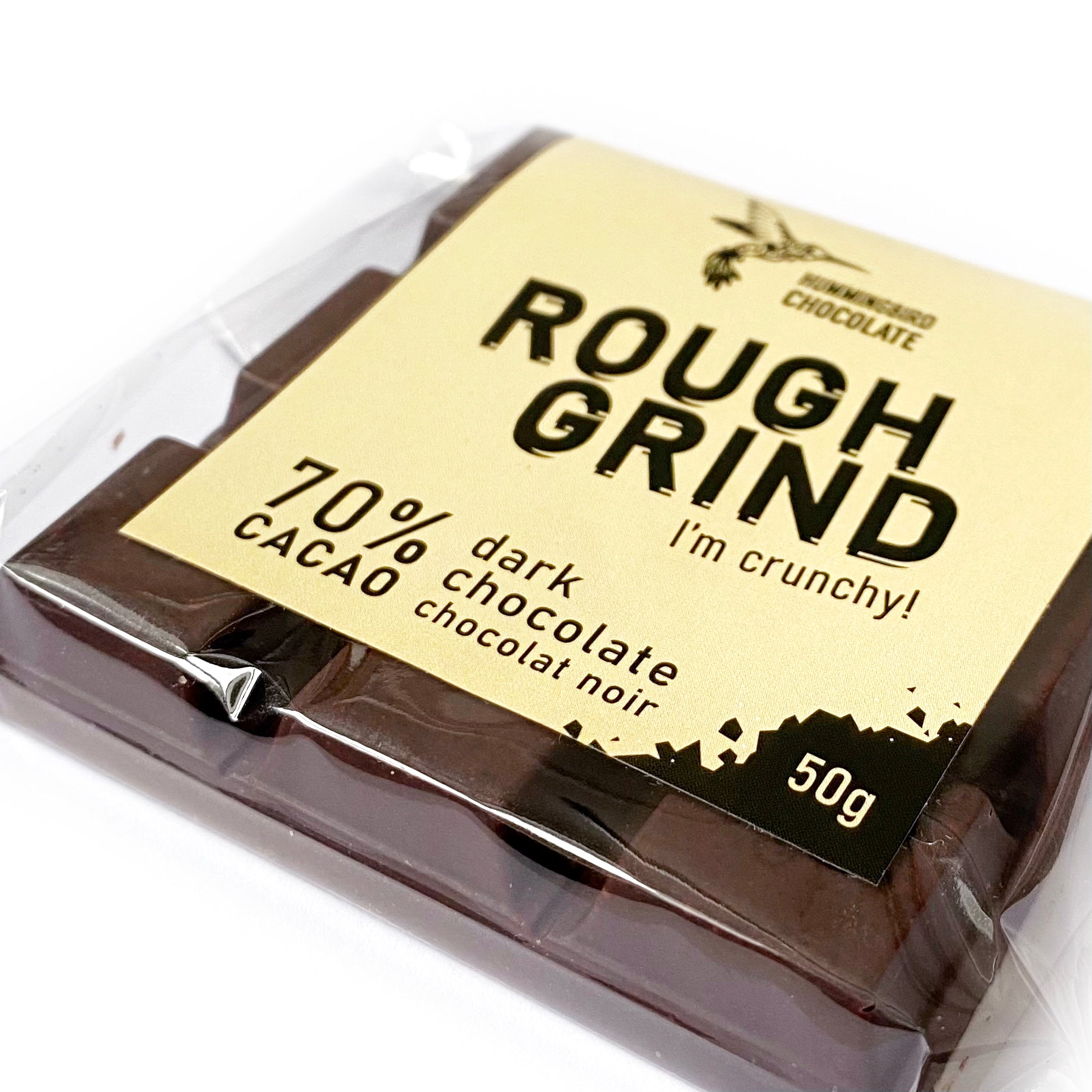 Hummingbird Chocolate Rough Grind chocolate bar, up close and personal