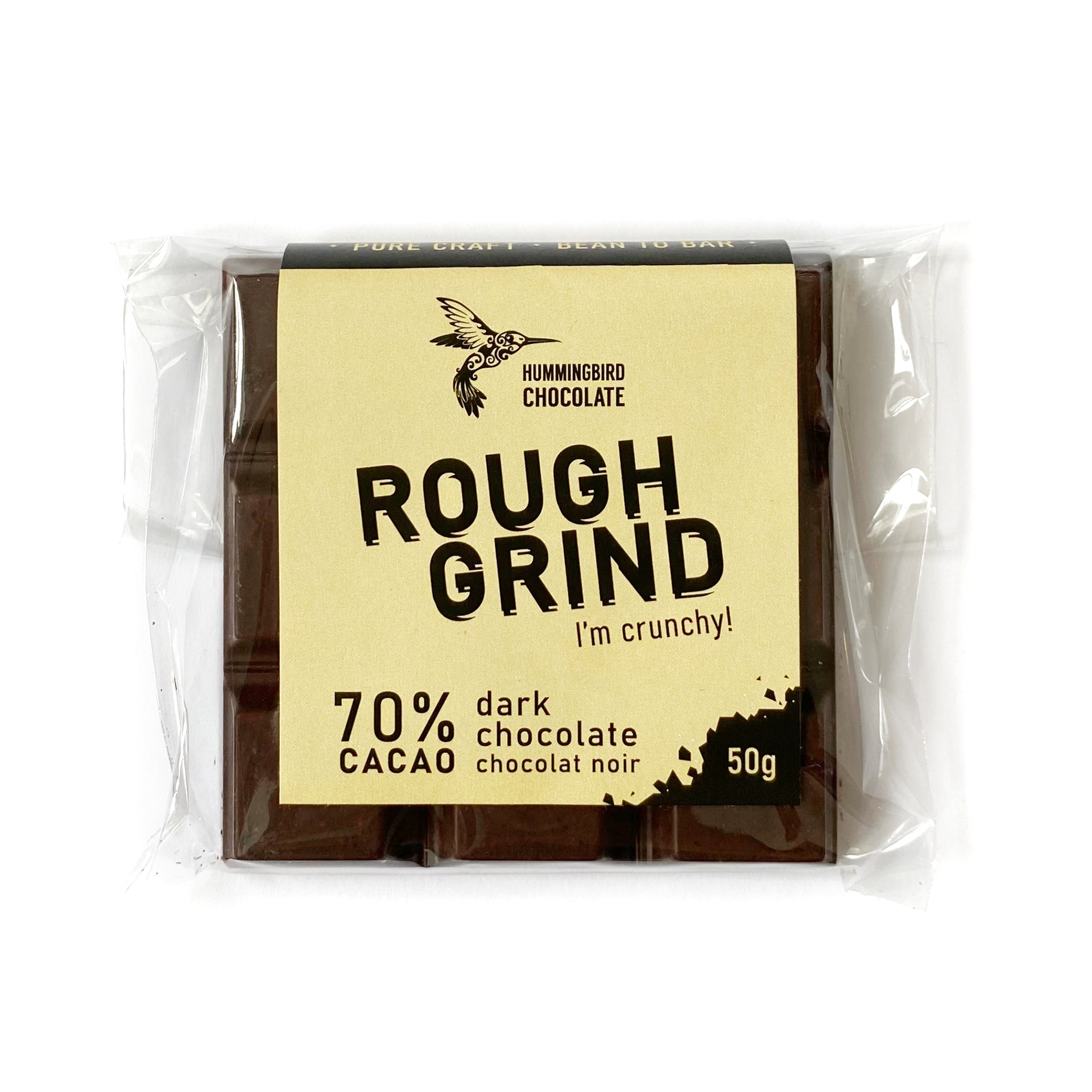 Hummingbird Chocolate Rough Grind. Crunchy, cookie-like textured 70% dark chocolate bar.