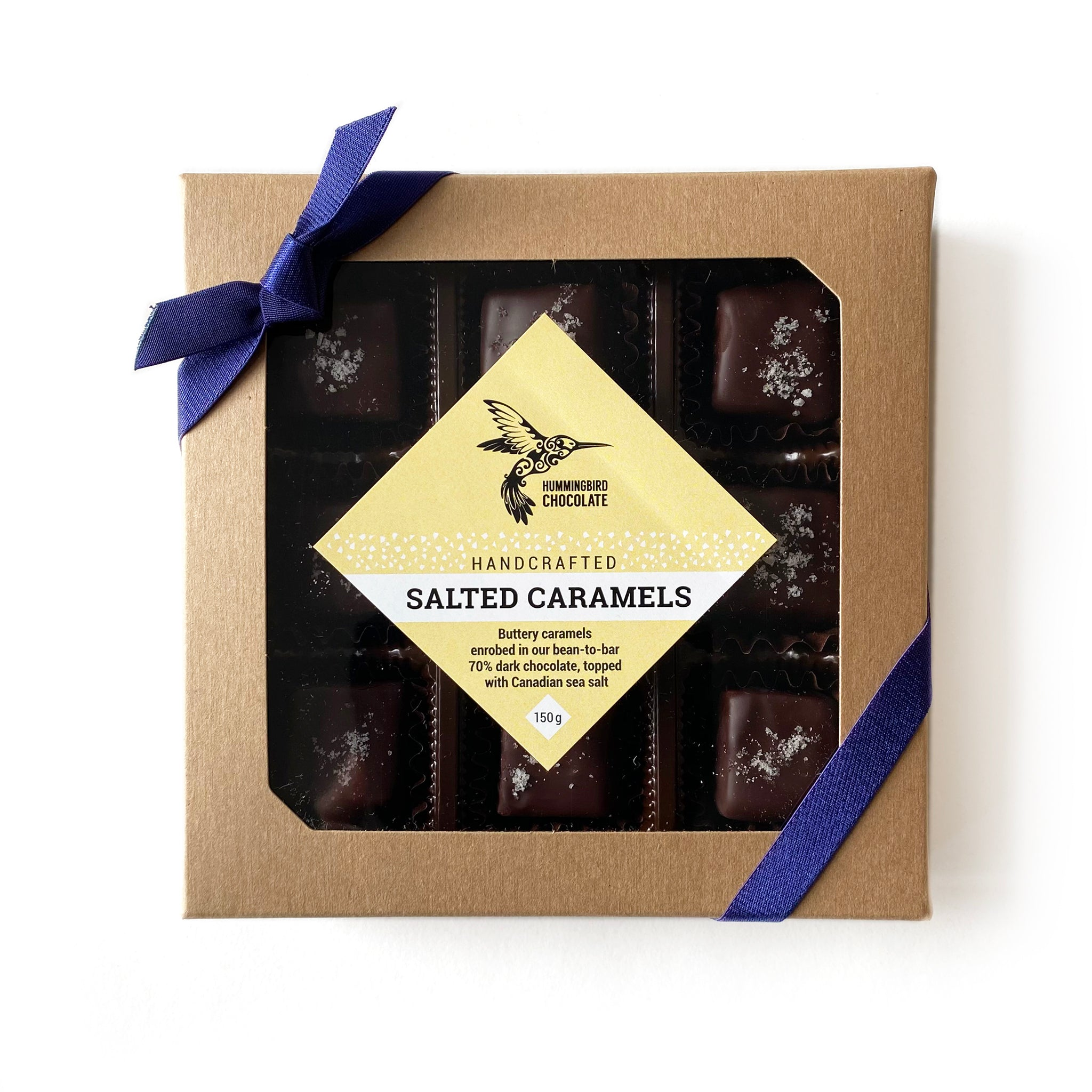 Hummingbird Chocolate Salted Caramels. Handcrafted buttery caramel enrobed in our bean-to-bar 70% dark chocolate topped with Canadian sea salt.