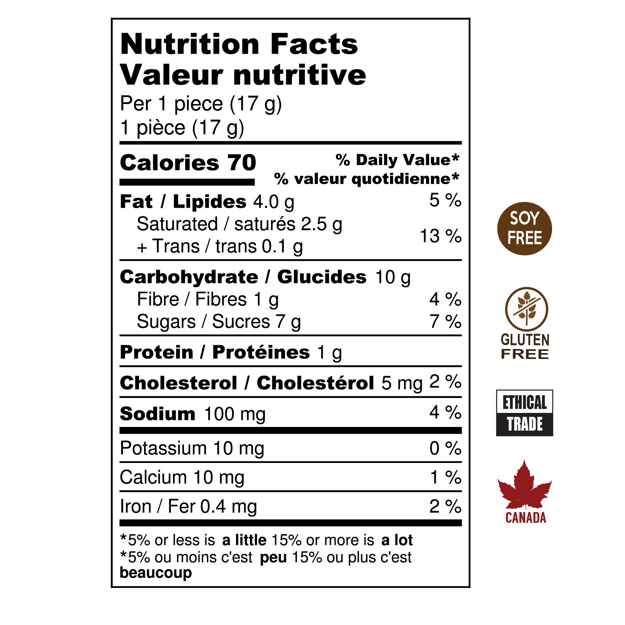 Hummingbird Chocolate Salted Caramel Nutrition Facts. Soy Free, Gluten Free, Ethical Trade, Made in Canada.