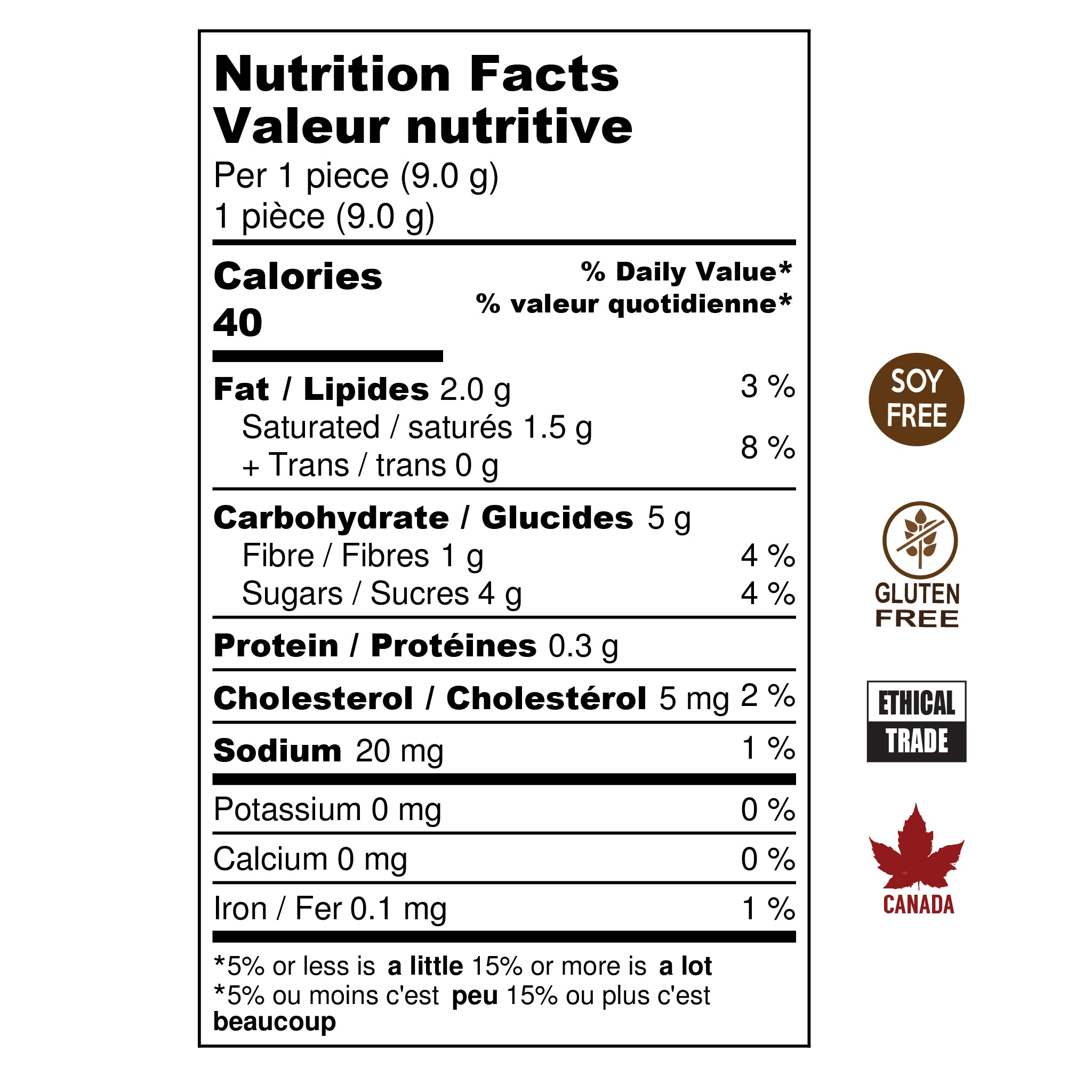 Box of 6 Caramels nutritional information. Soy Free, Gluten Free, Ethical Trade, Made in Canada