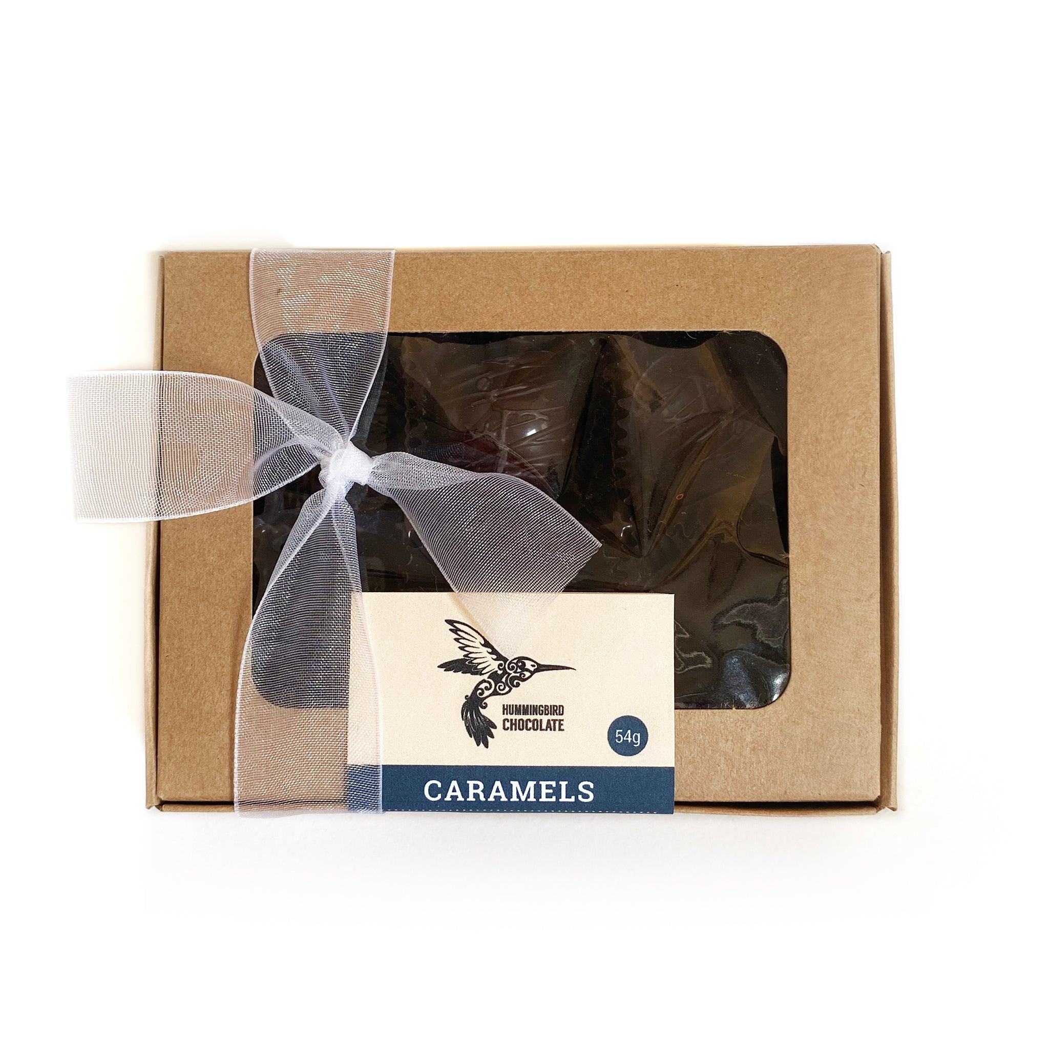 Hummingbird Chocolate, Box of 6 dark chocolate filled caramels, wrapped in a paper box and bow