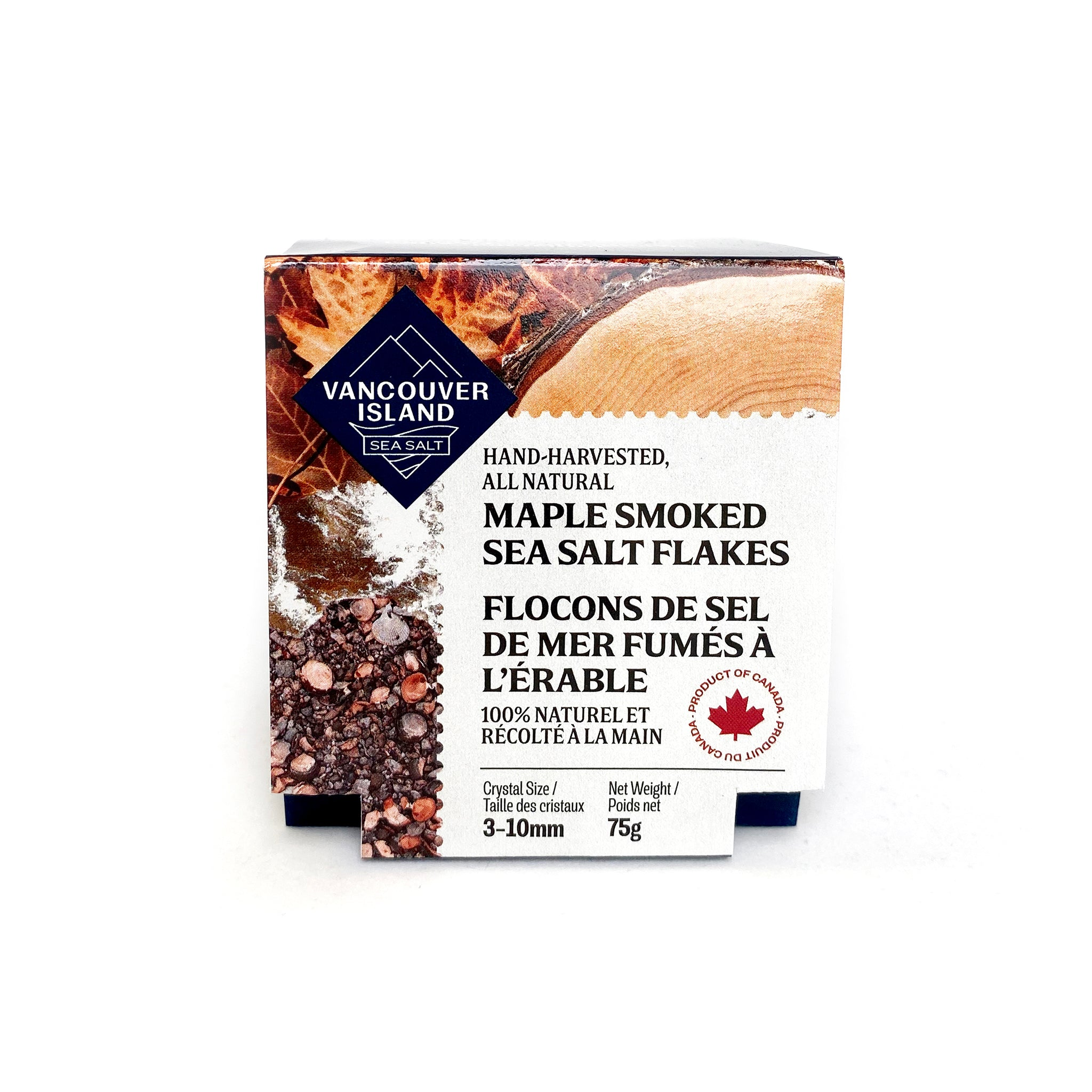 Vancouver Island Salt Co. Hand-harvested, all natural Maple Smoked Sea Salt Flakes.