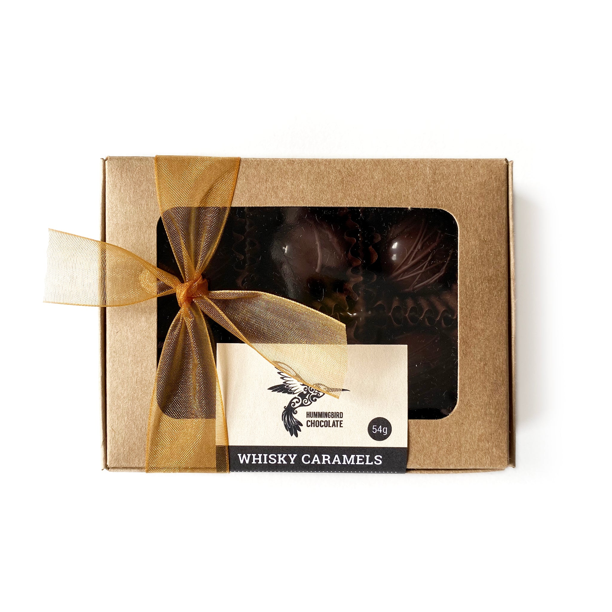 Hummingbird Chocolate, Box of 6 Whisky caramels, wrapped in a kraft box and bow.