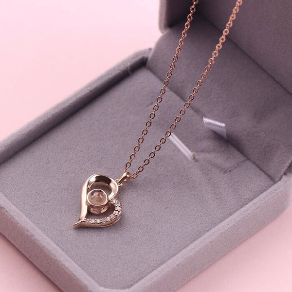 "Say ""I LOVE YOU"" in 100 Languages Heart Necklace"