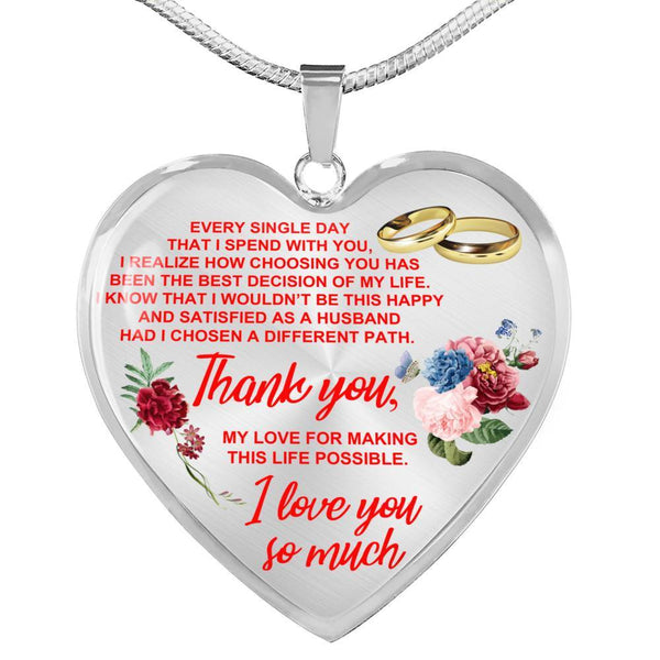 To My Wife - Heart Necklace - HD43
