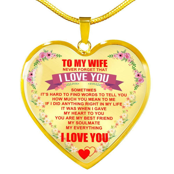 To My Wife - Heart Necklace - HD36