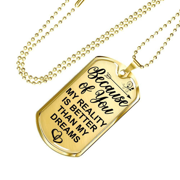 Because Of You - Real 18k Gold Keepsake Tag - DT03