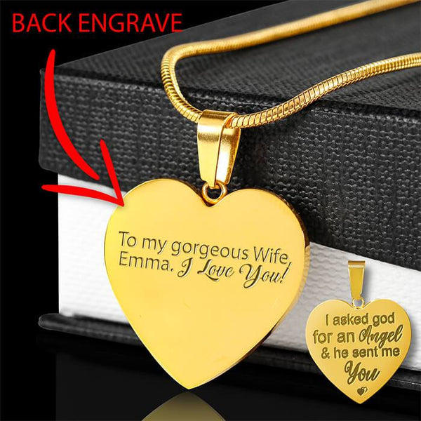 Engraved 18k Gold Heart Necklace - HD54