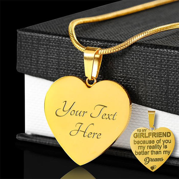 Engraved 18k Gold Heart Necklace - HD55