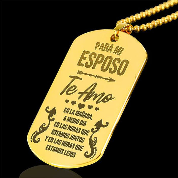 Te Amo - Mi Esposo - 18k Gold Keepsake Tag *Personalised Engraving Option