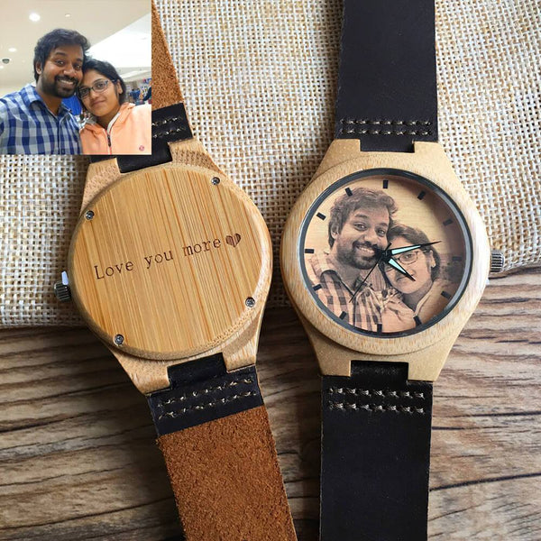 Personalized Photo Engraved Wood Watch