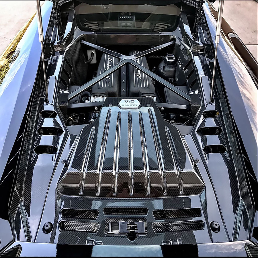 Carbon Fiber 4 Pc. Engine Bay Kit for Huracan LP610 LP580