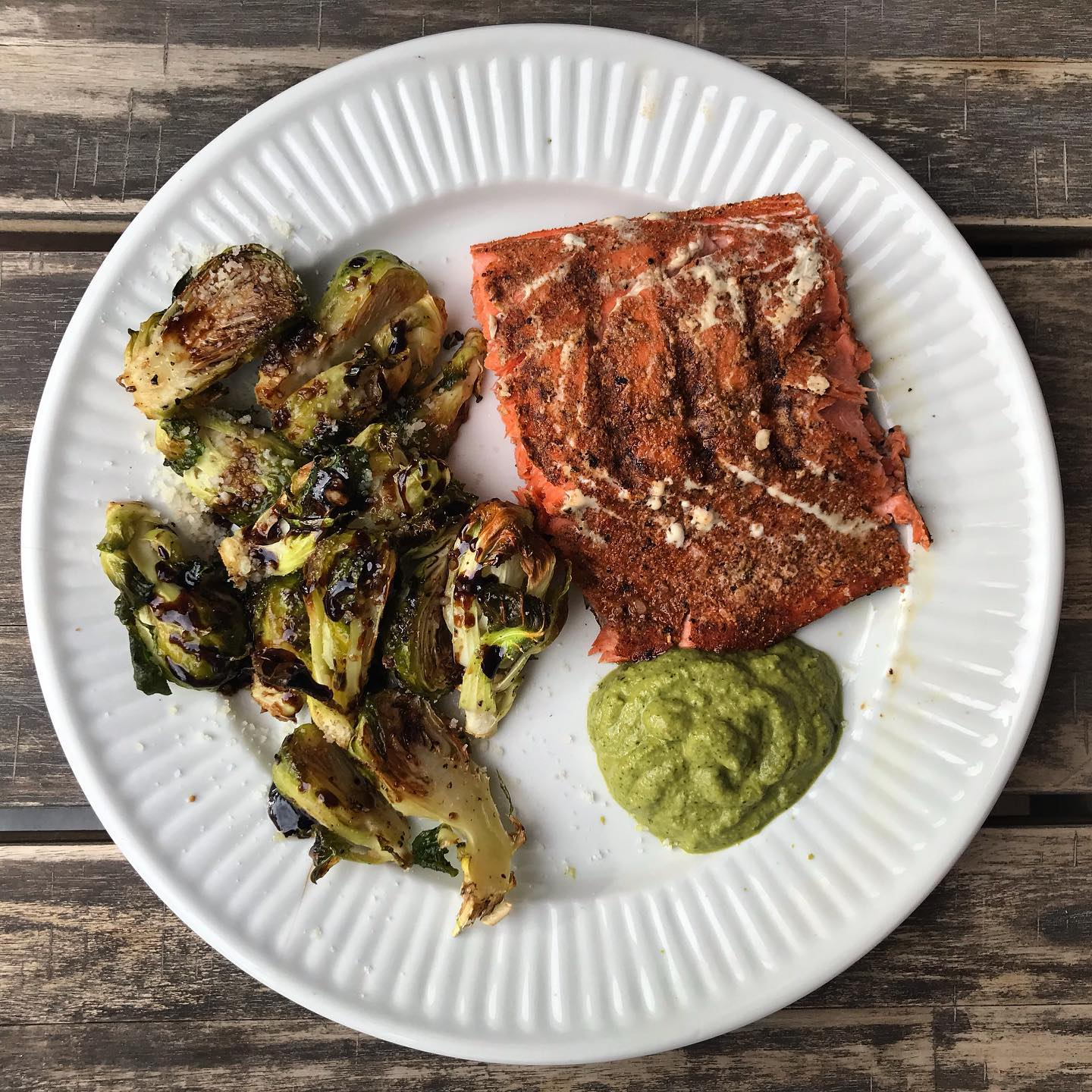 Ras El Hanout Grilled Salmon with Sauci Verde