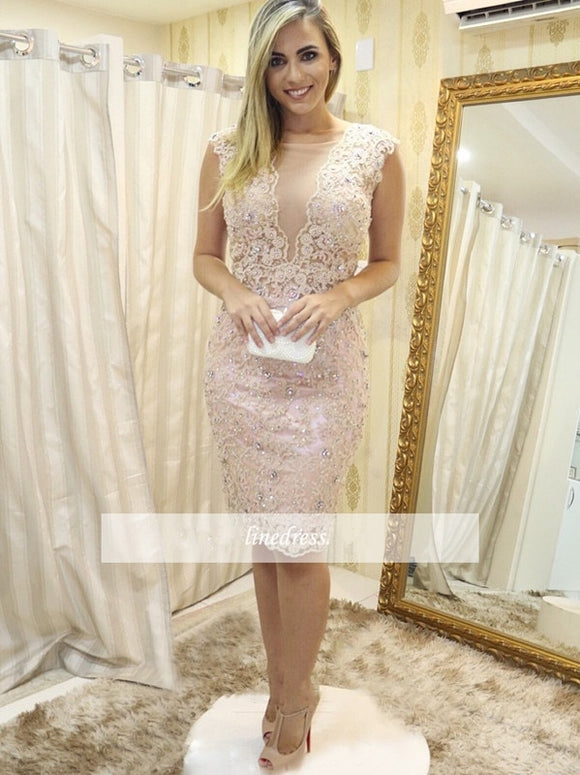 2018 Elegant Cocktail Dresses Sheath Cap Sleeves Knee Length Lace Crystals Party  Plus Size Homecoming Dresses 97da6371166c