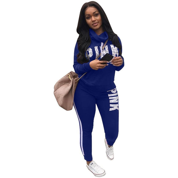 f6e51946f9e 2018 Spring Letter Pink Print Tracksuit Women Casual Outfits Two Piece Set  Pants Suits Plus Size