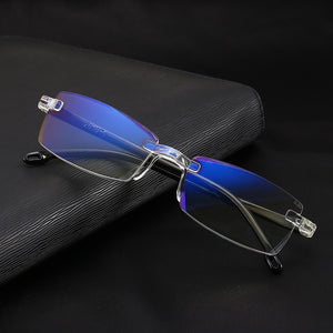 8ebc3f8a6fd Fashionable Ultralight Rimless Reading Glasses Women Men Clear Lens  Anti-Blu-Ray Computer Glasses