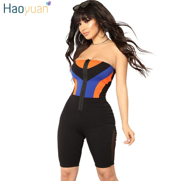 187c67424343 HAOYUAN Streetwear Sexy Playsuit 2018 Summer Zip Off Shoulder Strapless  Backless Bodycon Overalls Shorts Rompers Womens