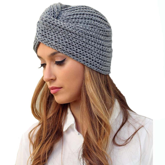 993eab62ccc Knit Turban Cross Women s Winter Warm Knit Turban Cross Twist Arab Hair  Wrap Solid Casual Skullies
