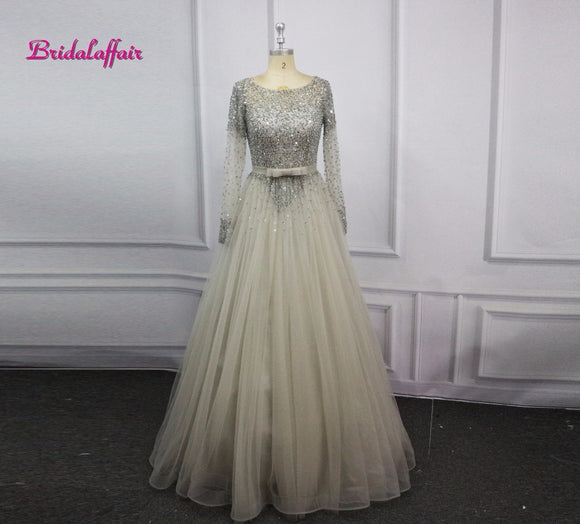 Luxury Tulle Beading Long Sleeve Prom Dresses O-Neck Evening Party Dress  A-Line 116b0520f738