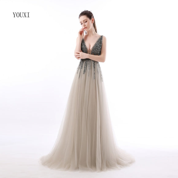Sexy Side Split Prom Dresses 2018 Deep V-Neck Backless Beads Crystal Party  Gowns Sleeveless 990395b5e00b