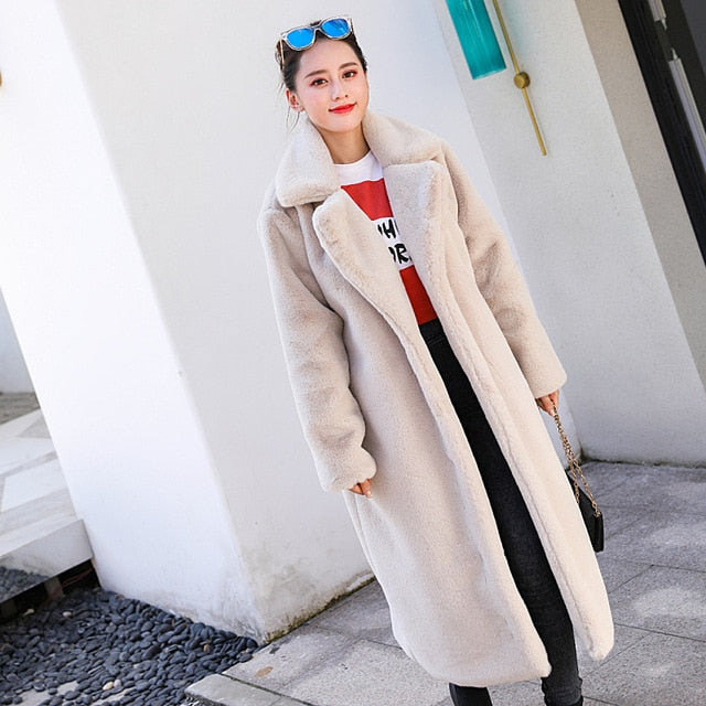 58911fdc7ff ... Winter Women High Quality Faux Rabbit Fur Coat Luxury Long Fur Coat  Loose Lapel OverCoat Thick ...