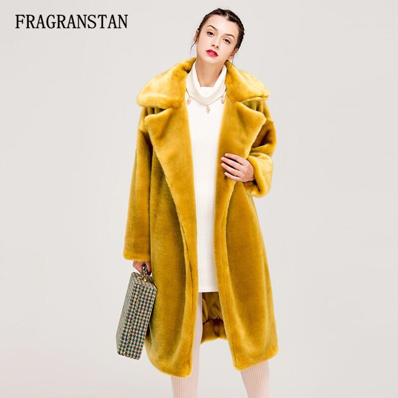 09ac13d2467 Winter Women High Quality Faux Rabbit Fur Coat Luxury Long Fur Coat Loose  Lapel OverCoat Thick ...