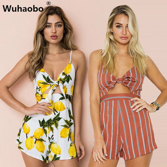 c2706003eb45 Wuhaobo3 Style Floral Print Chiffon Playsuit Women 2018 Summer Sexy Halter  Sleeveless Boho Rompers Jumpsuit Beach