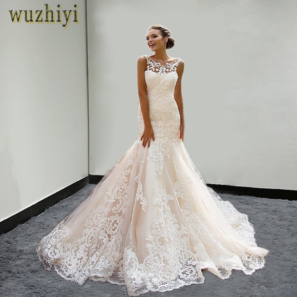 c9f34e44bd658 wuzhiyi wedding dress 2018 Plus Size Bridal vestido de noiva Appliques  wedding dress mermaid China Bridal