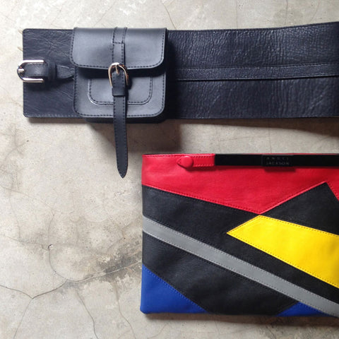 LEATHER PURSE BELT AND CLUTCH PURSE YELLOW-GREY RED BLACK-ANGEL JACKSON HANDBAGS