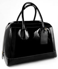 large black patent leather weekend bag