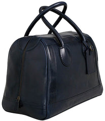 large navy blue leather cabin or weekend bag