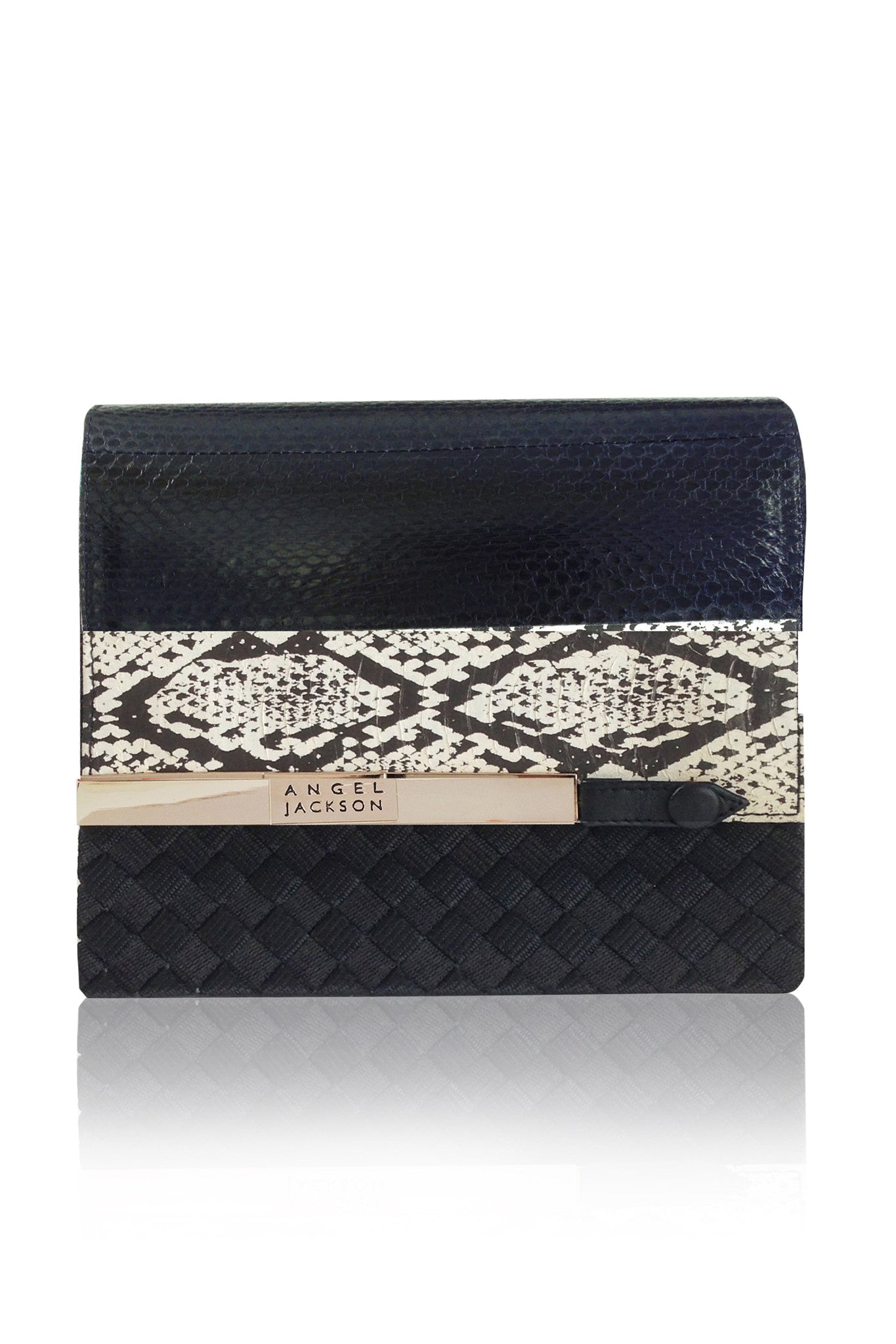 ANGEL JACKSON BLACK SNAKESKIN  SHOULDER BAG - contemporary sustainable luxury HANDBAGS