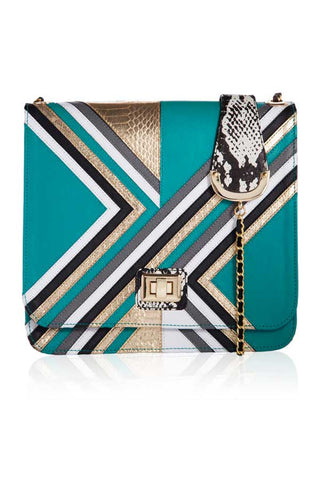 Designer-Cross-Body-Graphic-Satchel-Bag-in-Emerald-Leather