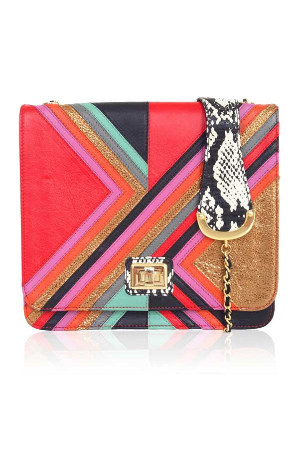 MULTI COLOUR CHEVRON STRIPED SHOULDER BAG WITH GOLD CHAIN IN RED FRONT VIEW