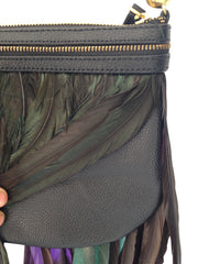 LUXURY FEATHER MINI BAG IN BLACK