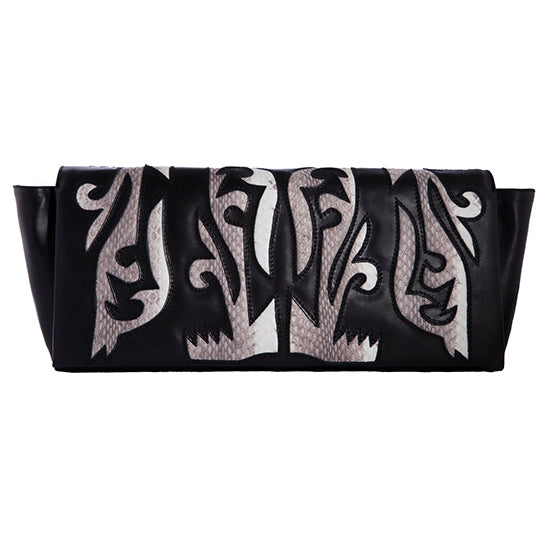 BLACK LEATHER CLUTCH WITH NATURAL SNAKESKIN DETAIL