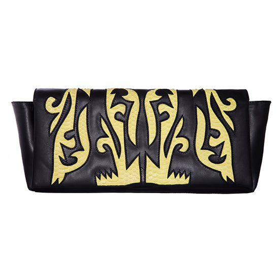 BLACK LEATHER CLUTCH WITH YELLOW SNAKESKIN DETAIL
