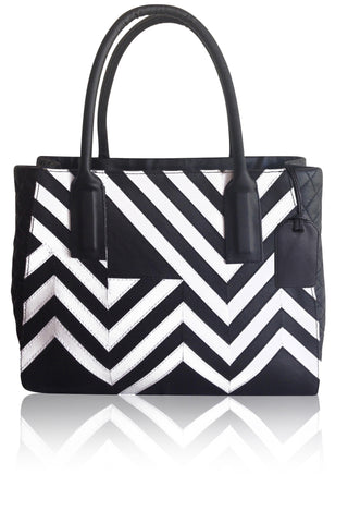 ANGEL JACKSON MONOCHROME HAND CUT LEATHER HANDBAG IN BLACK AND WHITE